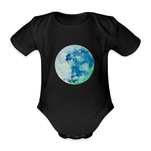 Ręcznie malowany akwarelą niebieski księżyc - Ekologiczne body niemowlęce z krótkim rękawem