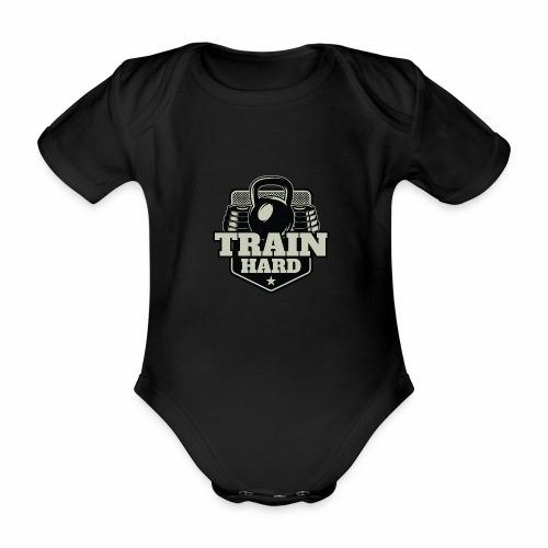 Train Hard - Baby Bio-Kurzarm-Body