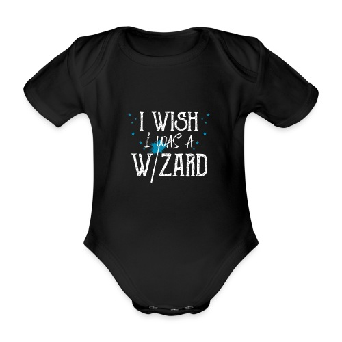 I Wish I Was A Wizard - White - Organic Short-sleeved Baby Bodysuit
