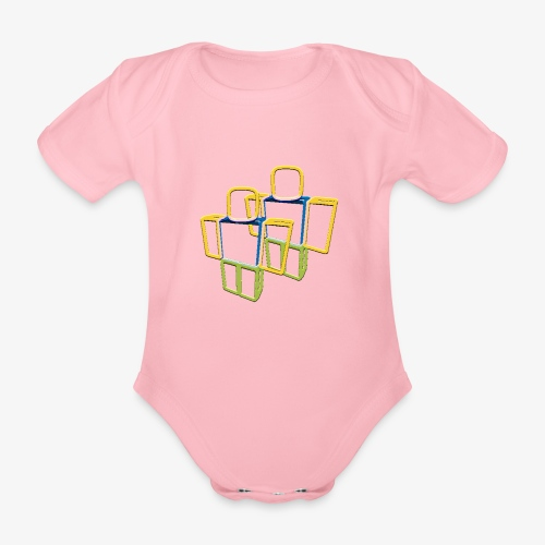 Sqaure Noob Person - Organic Short-sleeved Baby Bodysuit