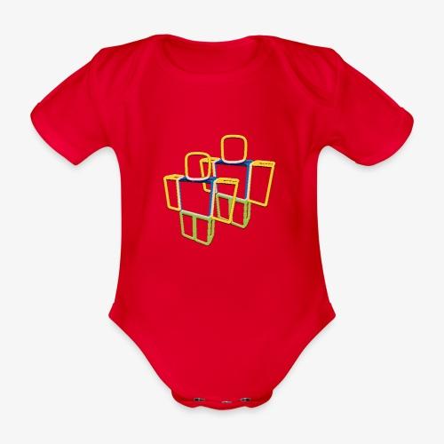 Sqaure Noob Person - Organic Short-sleeved Baby Bodysuit