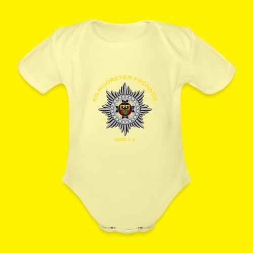 Gelbe Schrift - Baby Bio-Kurzarm-Body
