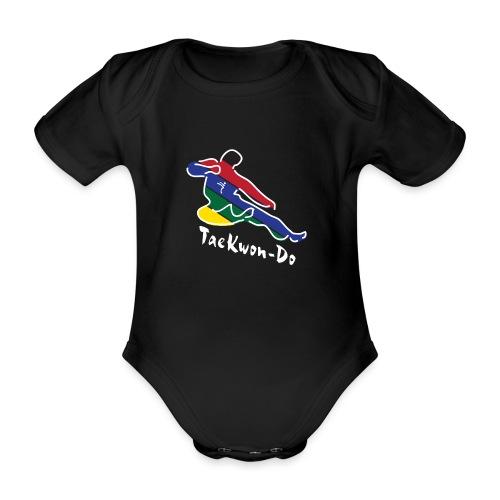 Taekwondo Flying Kicking-man - Organic Short-sleeved Baby Bodysuit