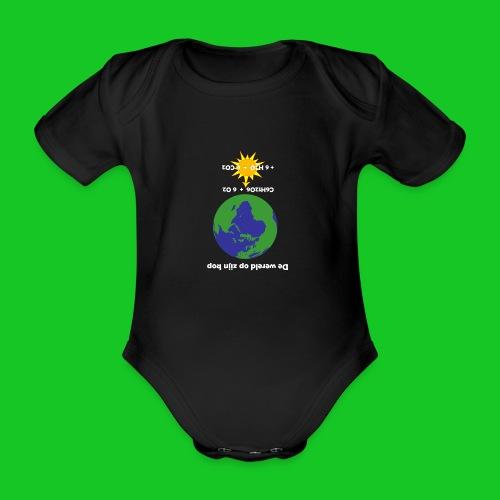 De wereld op zijn kop - Baby bio-rompertje met korte mouwen