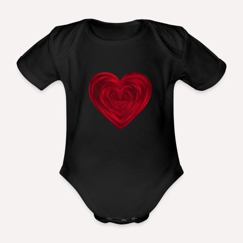Love Heart Print T-shirt design - Organic Short-sleeved Baby Bodysuit