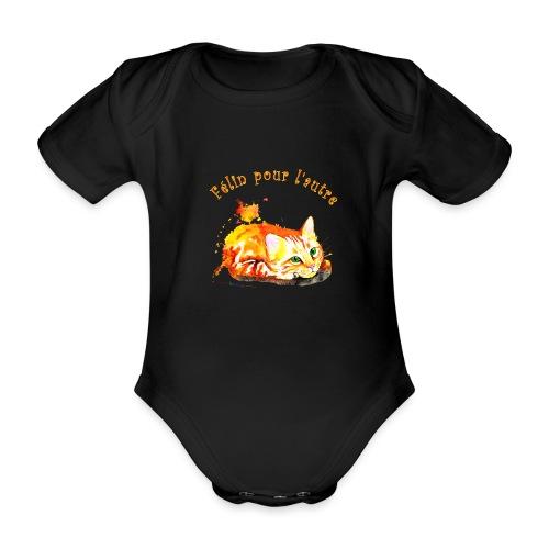 Chat roux,Félin pour l'autre - Body Bébé bio manches courtes