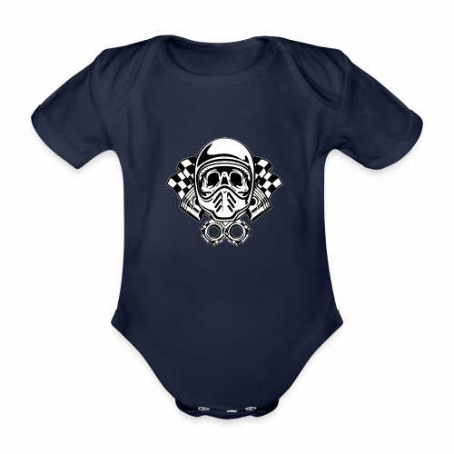 Racing Skull Helmet - Organic Short-sleeved Baby Bodysuit