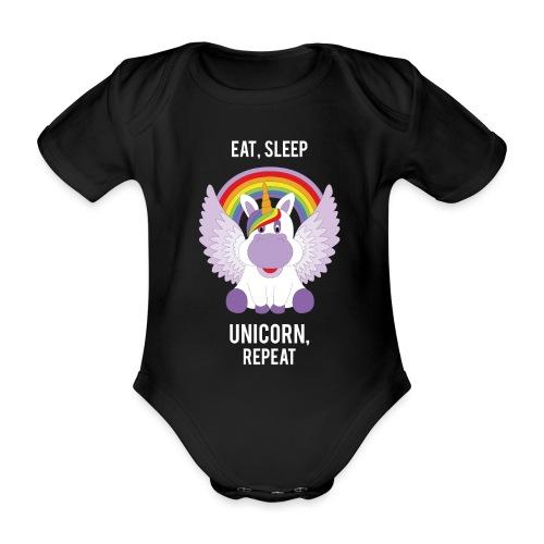 Eat, sleep, unicorn, repeat - Baby bio-rompertje met korte mouwen