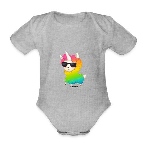 Regenboog animo - Baby bio-rompertje met korte mouwen