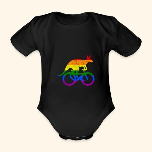 Radfahrer Känguru lustiges Fahrrad Regenbogenfahne - Baby Bio-Kurzarm-Body
