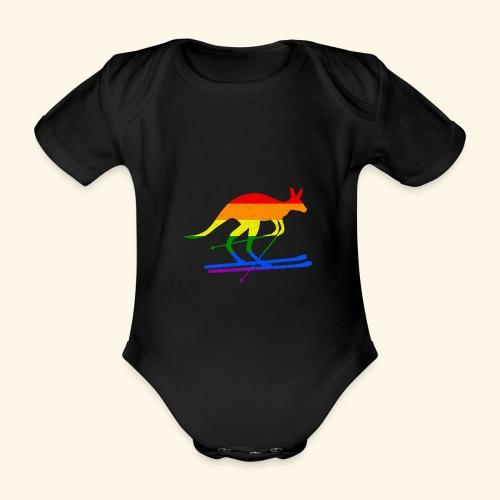 Skifahrer Känguru Ski Wintersport Regenbogenfahne - Baby Bio-Kurzarm-Body