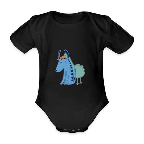 Bird and dog - Organic Short-sleeved Baby Bodysuit