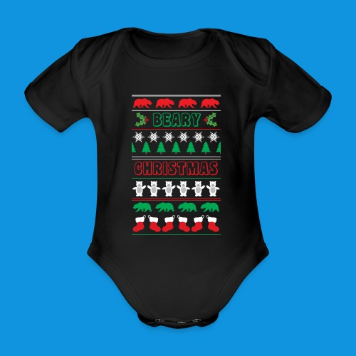 Beary Christmas.png - Organic Short-sleeved Baby Bodysuit