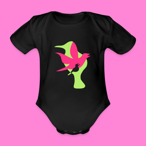 birds - Baby bio-rompertje met korte mouwen
