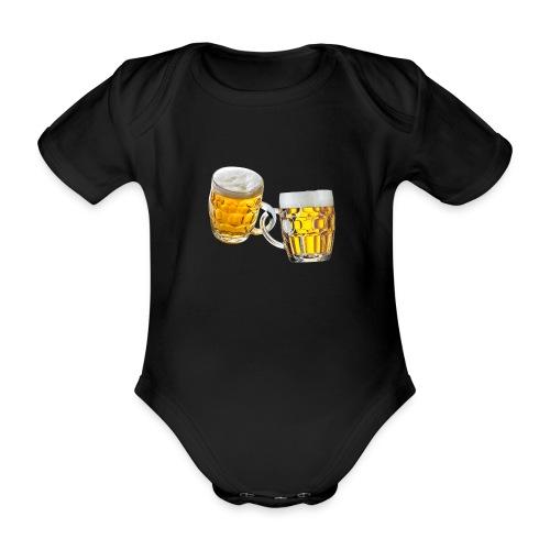 Boccali di birra - Body ecologico per neonato a manica corta