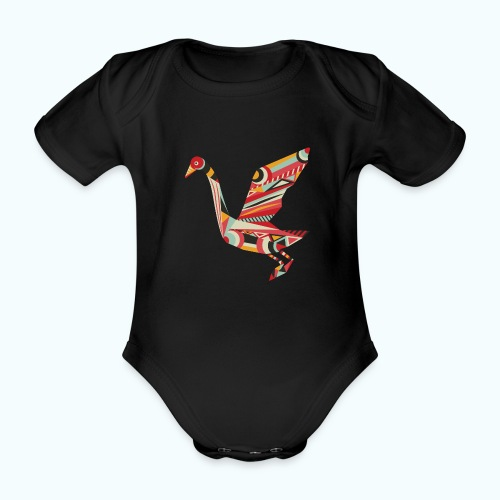 Origami bird Japanese - Organic Short-sleeved Baby Bodysuit