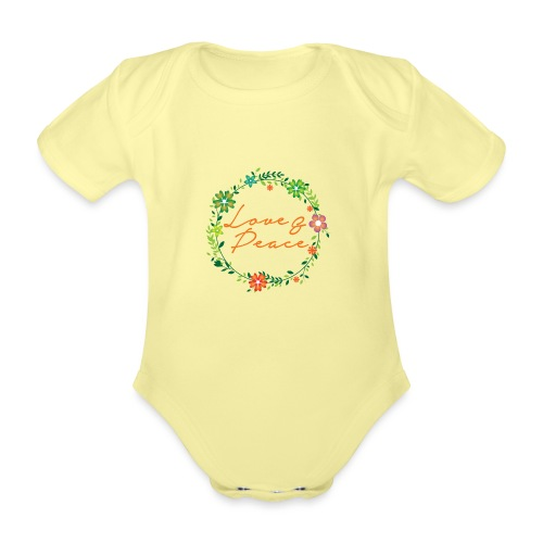 Love and Peace - Organic Short-sleeved Baby Bodysuit