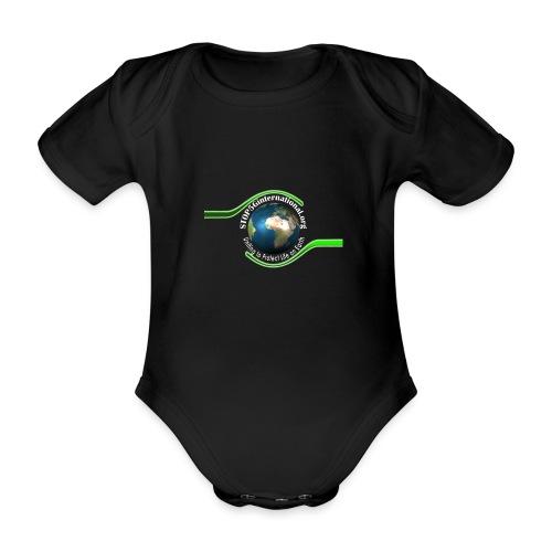 LOGO white font - Organic Short-sleeved Baby Bodysuit