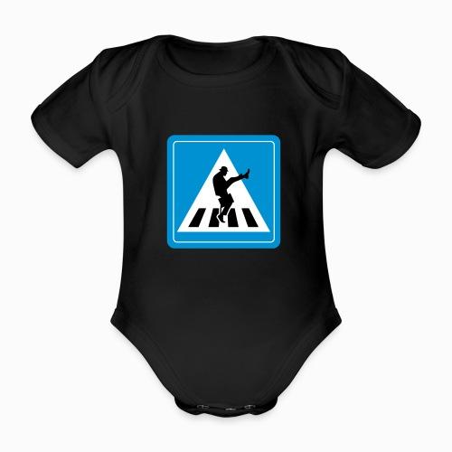 Silly walk zebrapad verkeersbord Zierikzee Zeeland - Baby bio-rompertje met korte mouwen