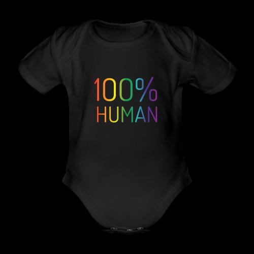 100% Human in regenboog kleuren - Baby bio-rompertje met korte mouwen