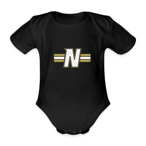 White N with stripes - Organic Short-sleeved Baby Bodysuit