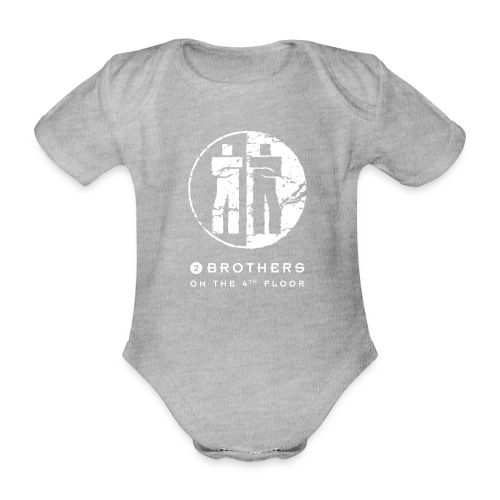 2 Brothers White text - Organic Short-sleeved Baby Bodysuit