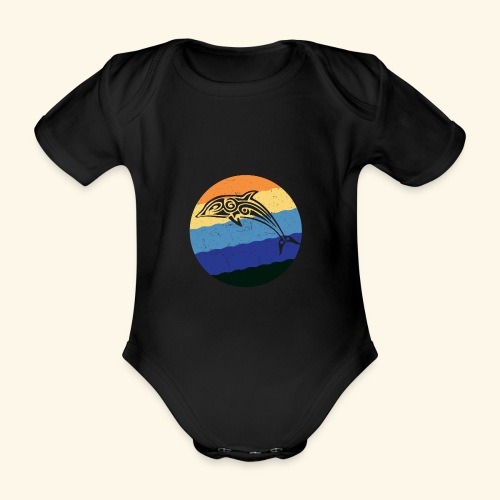 Greek Dolphin Retro - Organic Short-sleeved Baby Bodysuit