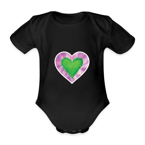 Green Heart - Organic Short-sleeved Baby Bodysuit