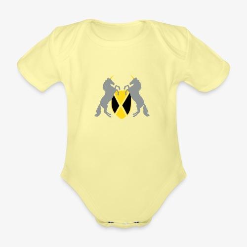 Unicorn Heraldry fantasy shield by patjila - Organic Short-sleeved Baby Bodysuit