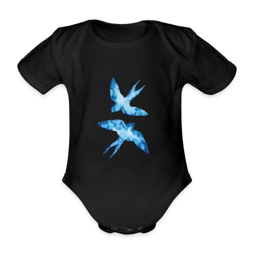 Akwarelowe jaskółki - Ekologiczne body niemowlęce z krótkim rękawem