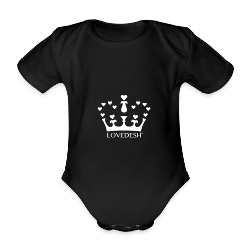 White Lovedesh Crown, Ethical Luxury - With Heart - Organic Short-sleeved Baby Bodysuit