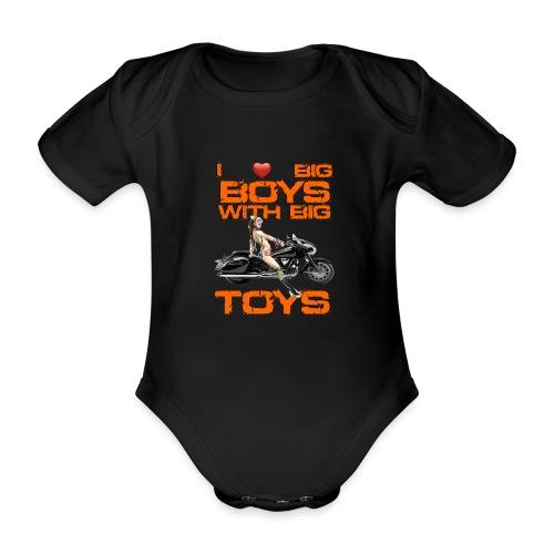 I love boys with big toys - Baby bio-rompertje met korte mouwen