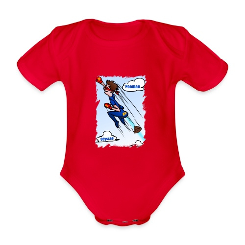Superhero Pooman - Organic Short-sleeved Baby Bodysuit