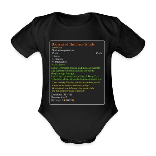 WoW Inspired Horde Baby Suite black Temple. - Organic Short-sleeved Baby Bodysuit