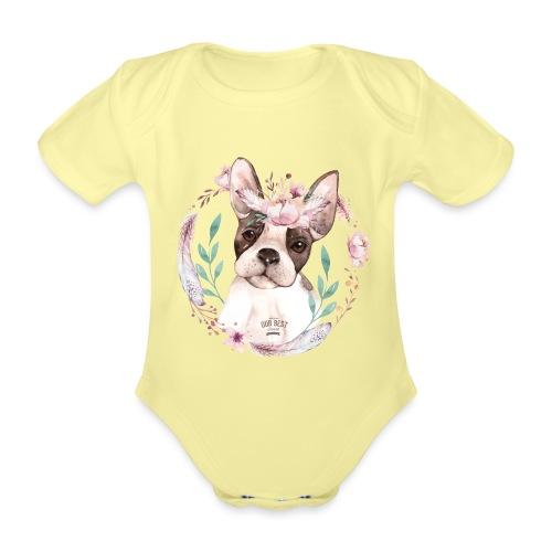 French Bully Flowers - Französische Bulldogge - Baby Bio-Kurzarm-Body