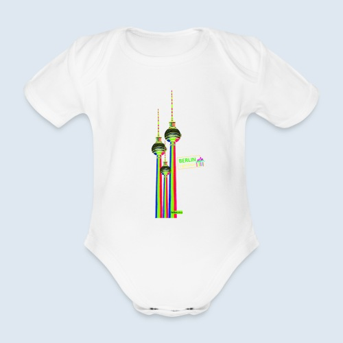 "Berliner Original ""Fernsehturm III"" PopArt Design - Baby Bio-Kurzarm-Body"