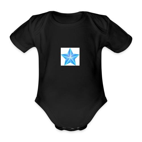 blue themed christmas star 0515 1012 0322 4634 SMU - Organic Short-sleeved Baby Bodysuit