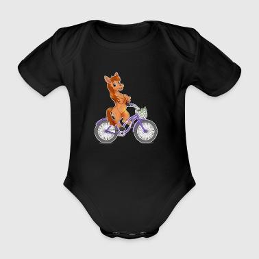 Pferd auf Fahrrad Geschenk Reiten Reiterin Kawaii - Baby Bio-Kurzarm-Body