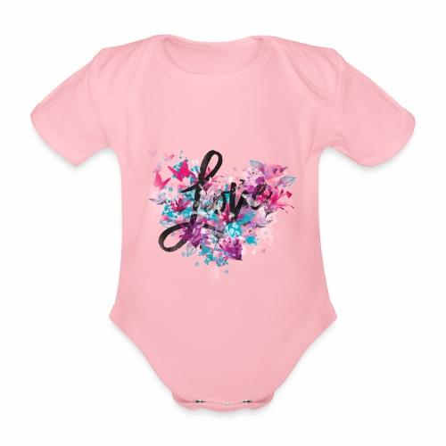 Love with Heart - Organic Short-sleeved Baby Bodysuit