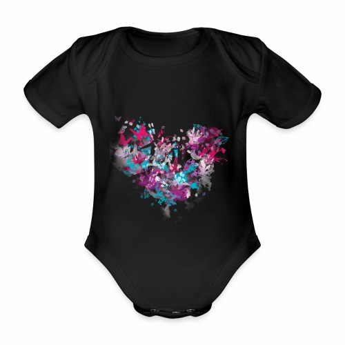 Love with Heart - Organic Short-sleeved Baby Bodysuit