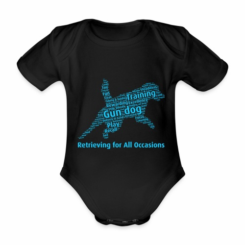 Retrieving for All Occasions wordcloud blått - Ekologisk kortärmad babybody