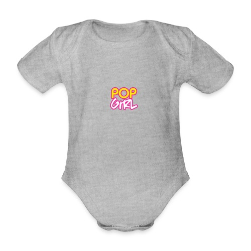 Pop Girl logo - Organic Short-sleeved Baby Bodysuit