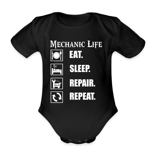 Das Leben als Mechaniker ist hart! Witziges Design - Baby Bio-Kurzarm-Body