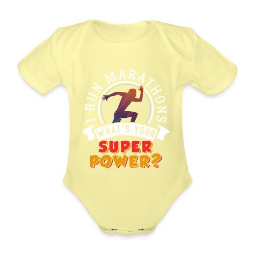 Running Marathons Super Power - Baby Bio-Kurzarm-Body