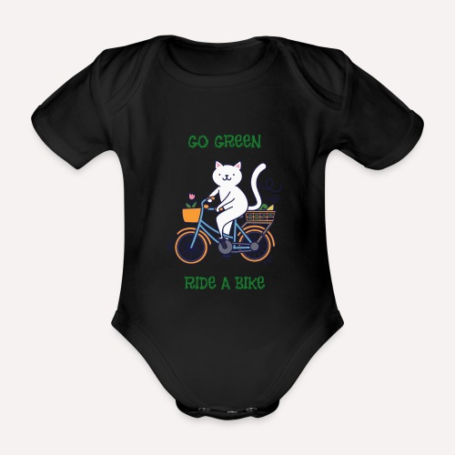 Caring About Climate Change? Go Green Ride A Bike - Organic Short-sleeved Baby Bodysuit