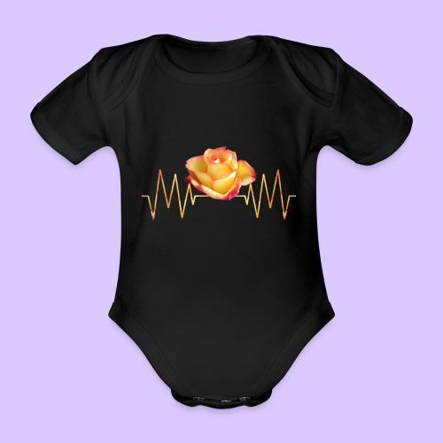Rose, Herzschlag, Rosen, Blume, Herz, Frequenz - Baby Bio-Kurzarm-Body