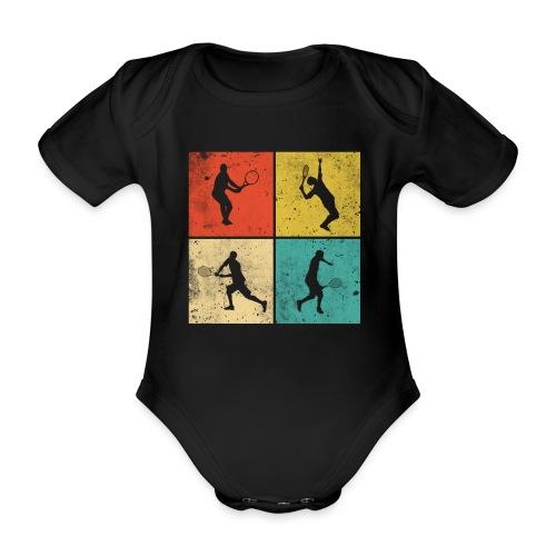 Tennis Tennisspieler Retro Geschenk - Baby Bio-Kurzarm-Body