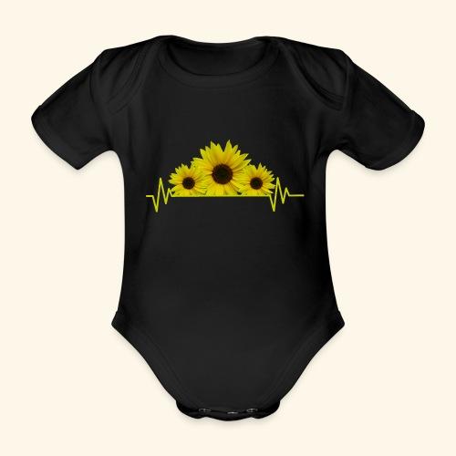 Sonnenblumen Herzschlag Sonnenblume Blumen Blüten - Baby Bio-Kurzarm-Body