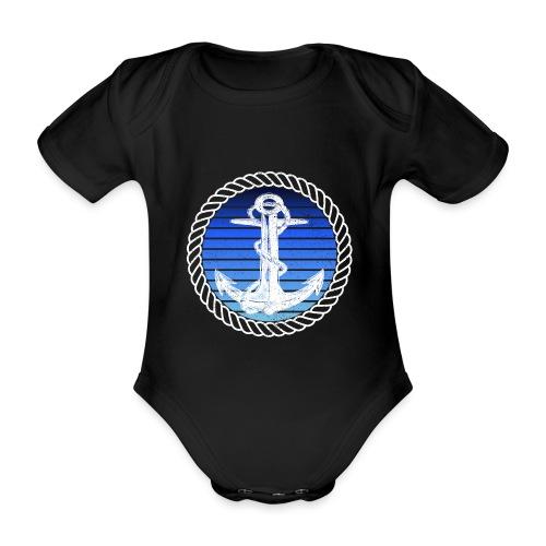 Anker maritimer Retrokreis Geschenkidee - Baby Bio-Kurzarm-Body