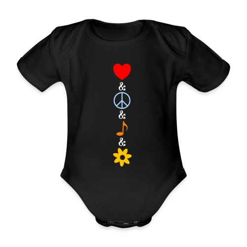 Love Peace Music Flower Hippie Summer - Baby Bio-Kurzarm-Body
